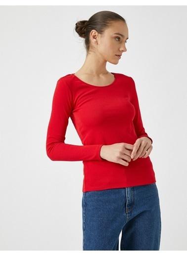Koton Pamuklu Uzun Kollu Tisört Kırmızı
